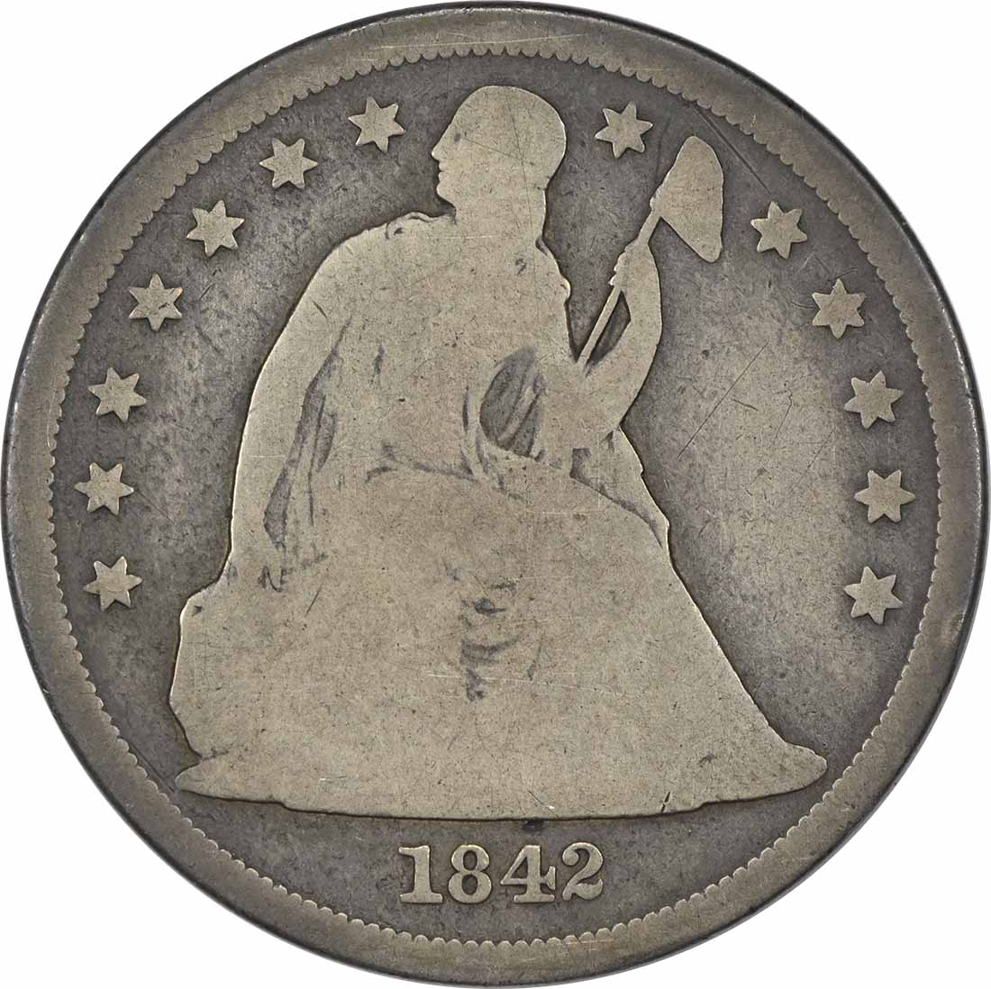 1842 Liberty Seated Silver Dollar G Uncertified