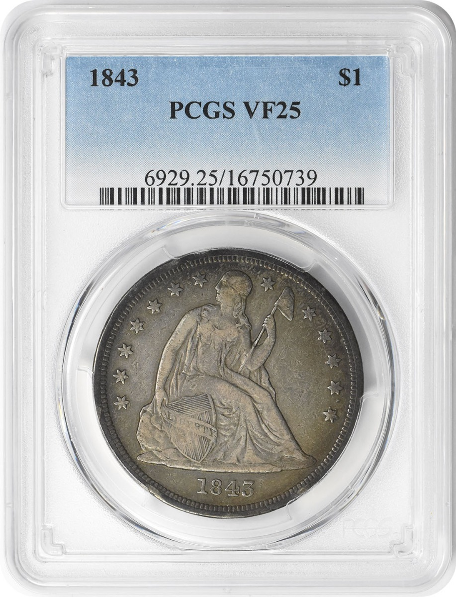 1843 Liberty Seated Silver Dollar VF25 PCGS