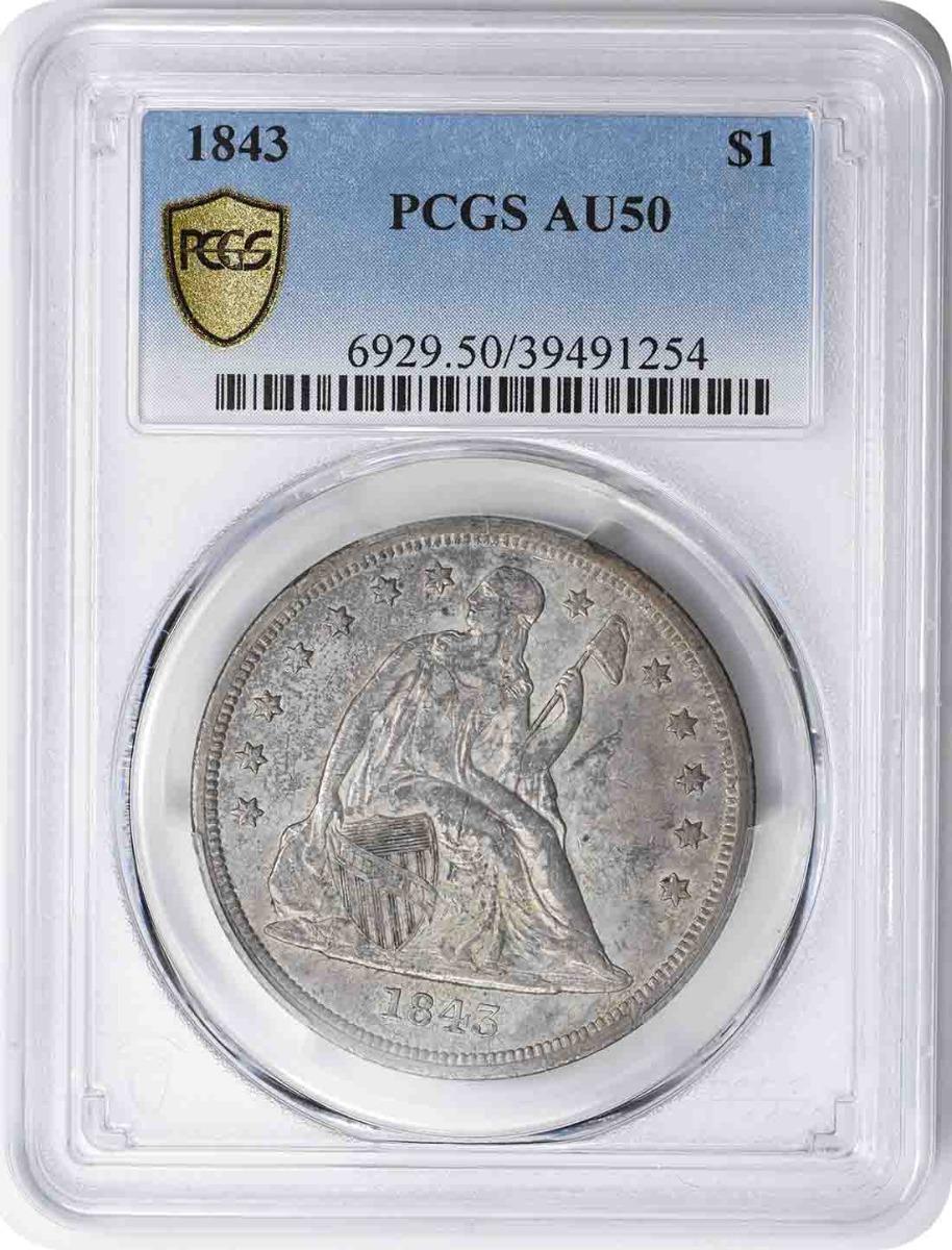 1843 Liberty Seated Silver Dollar AU50 PCGS