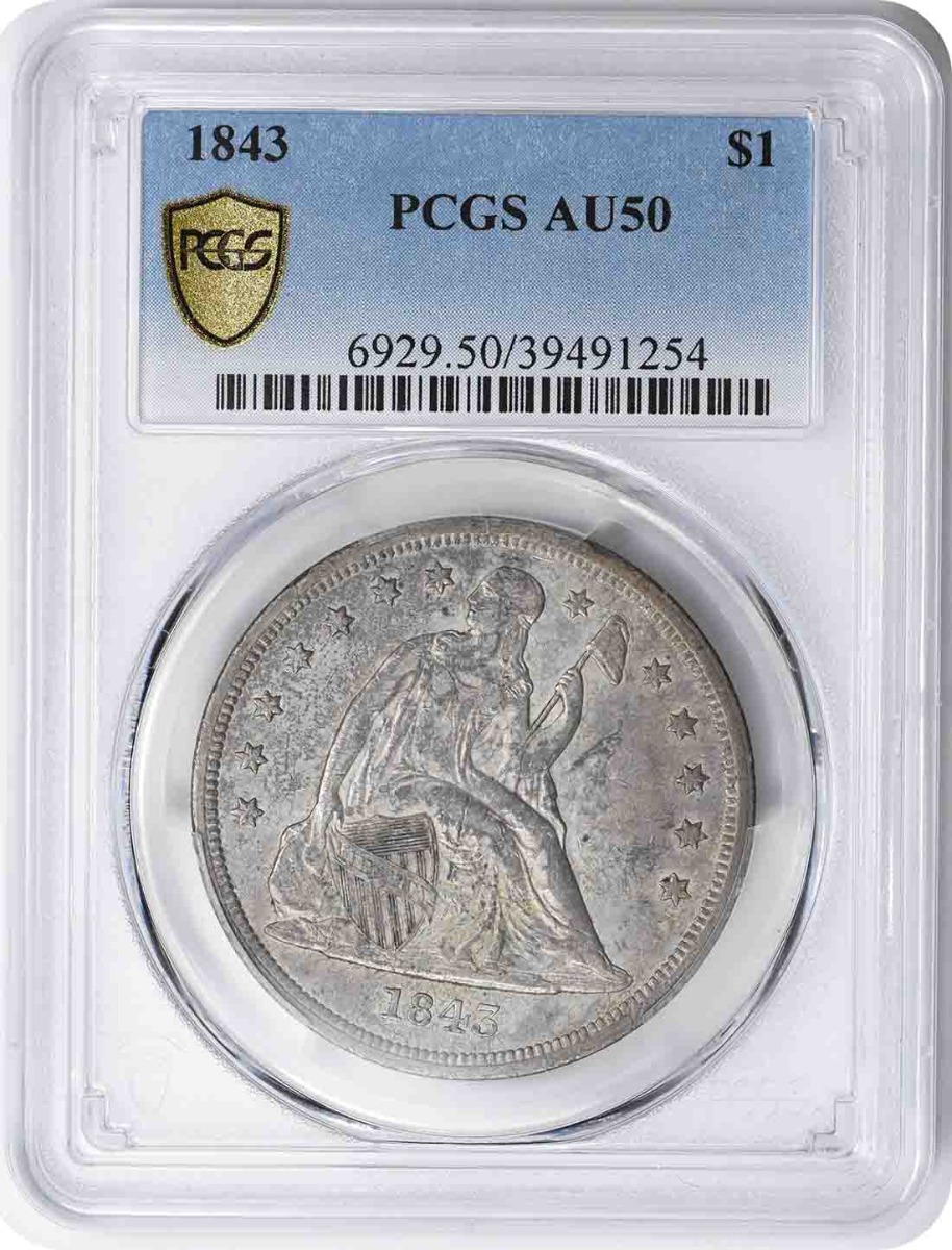 1843 Liberty Seated Silver Dollar AU50 PCGS