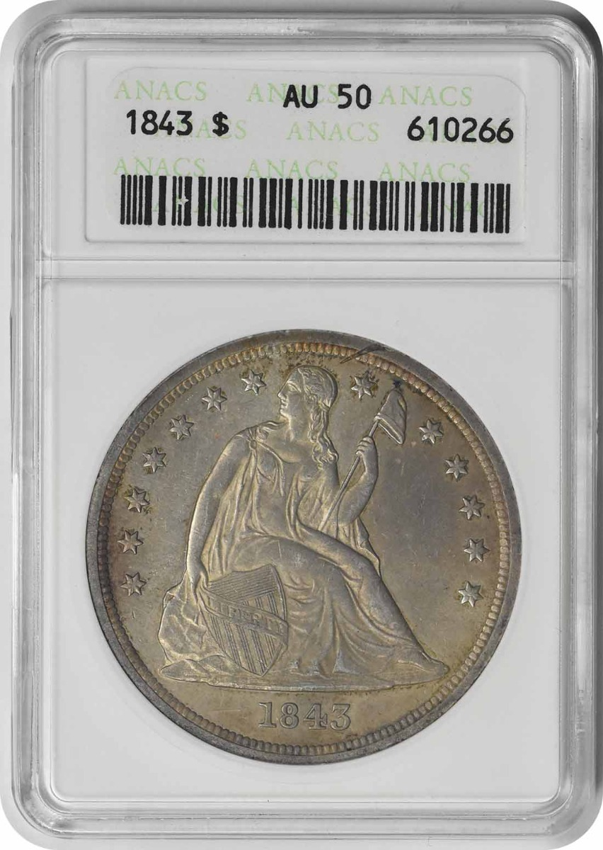 1843 Liberty Seated Silver Dollar AU50 ANACS