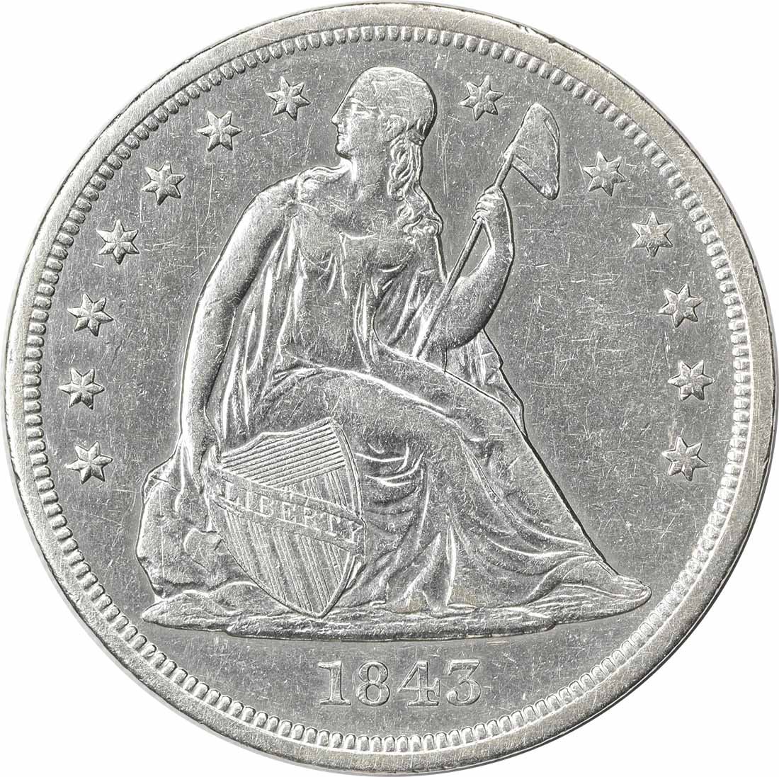 1843 Liberty Seated Silver Dollar AU Uncertified