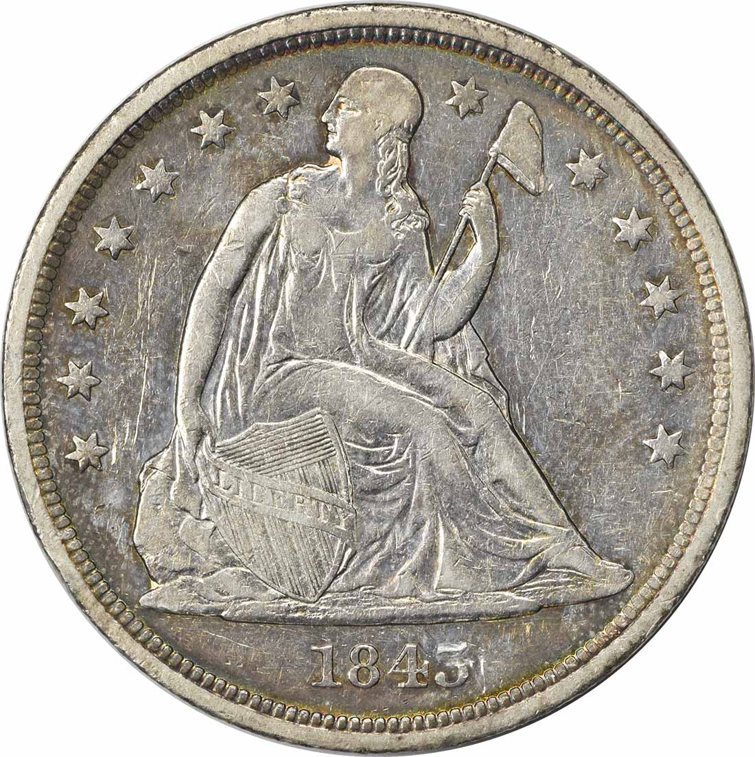 1843 Liberty Seated Silver Dollar EF Uncertified