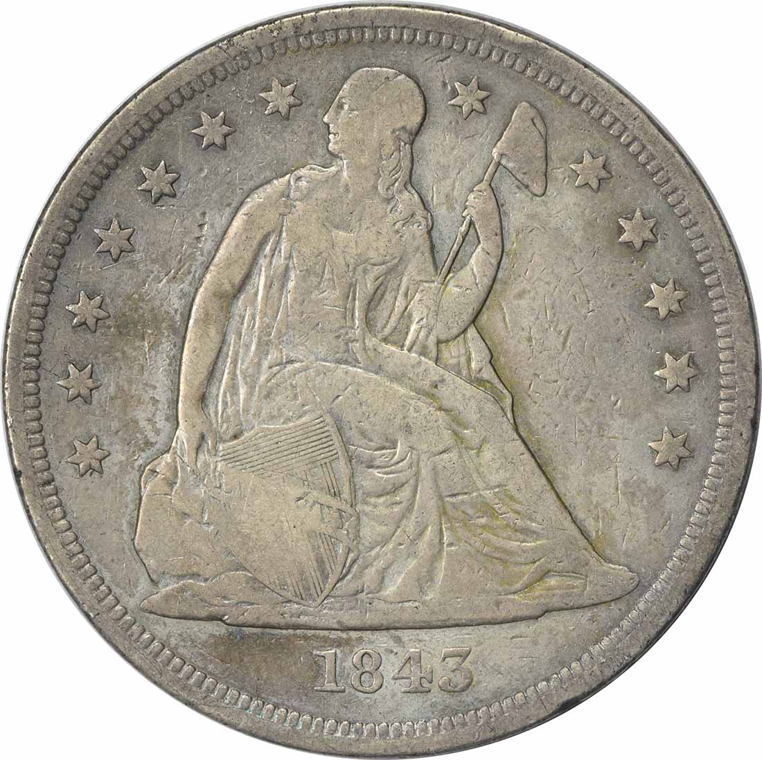 1843 Liberty Seated Silver Dollar VG Uncertified