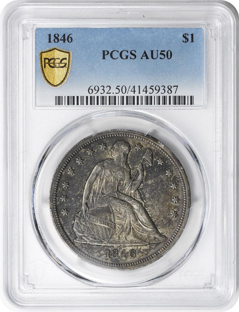 1846 Liberty Seated Silver Dollar AU50 PCGS