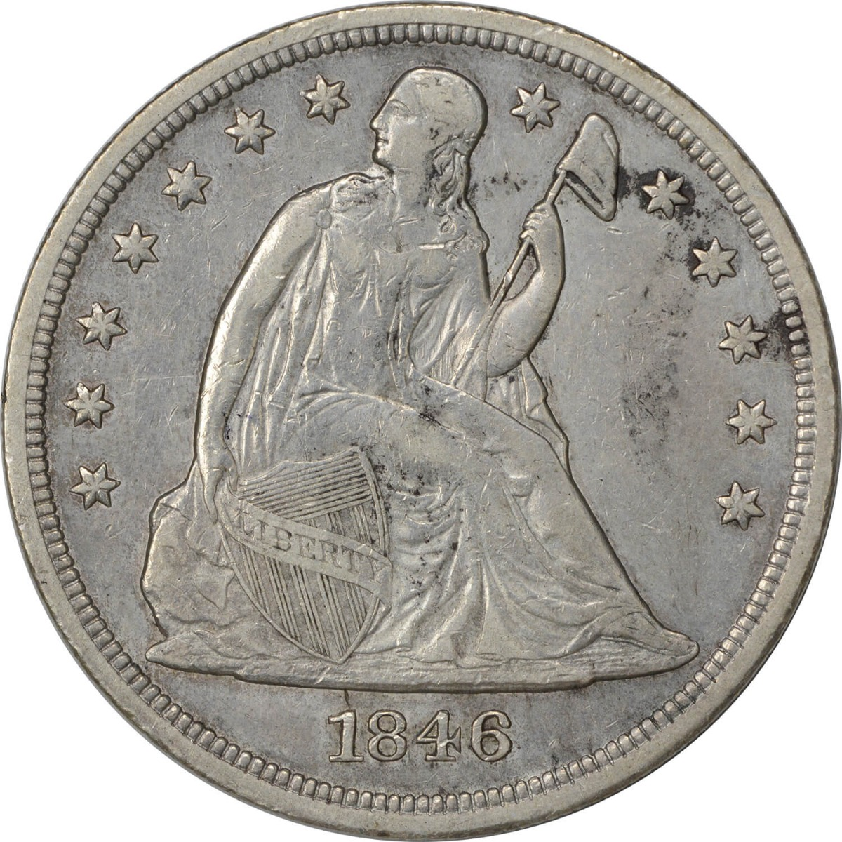 1846 Liberty Seated Silver Dollar EF Uncertified #305