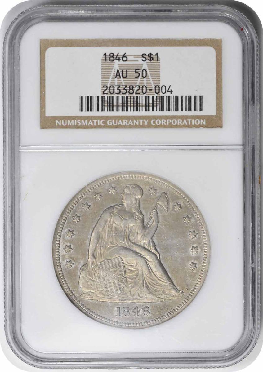 1846 Liberty Seated Silver Dollar AU50 NGC