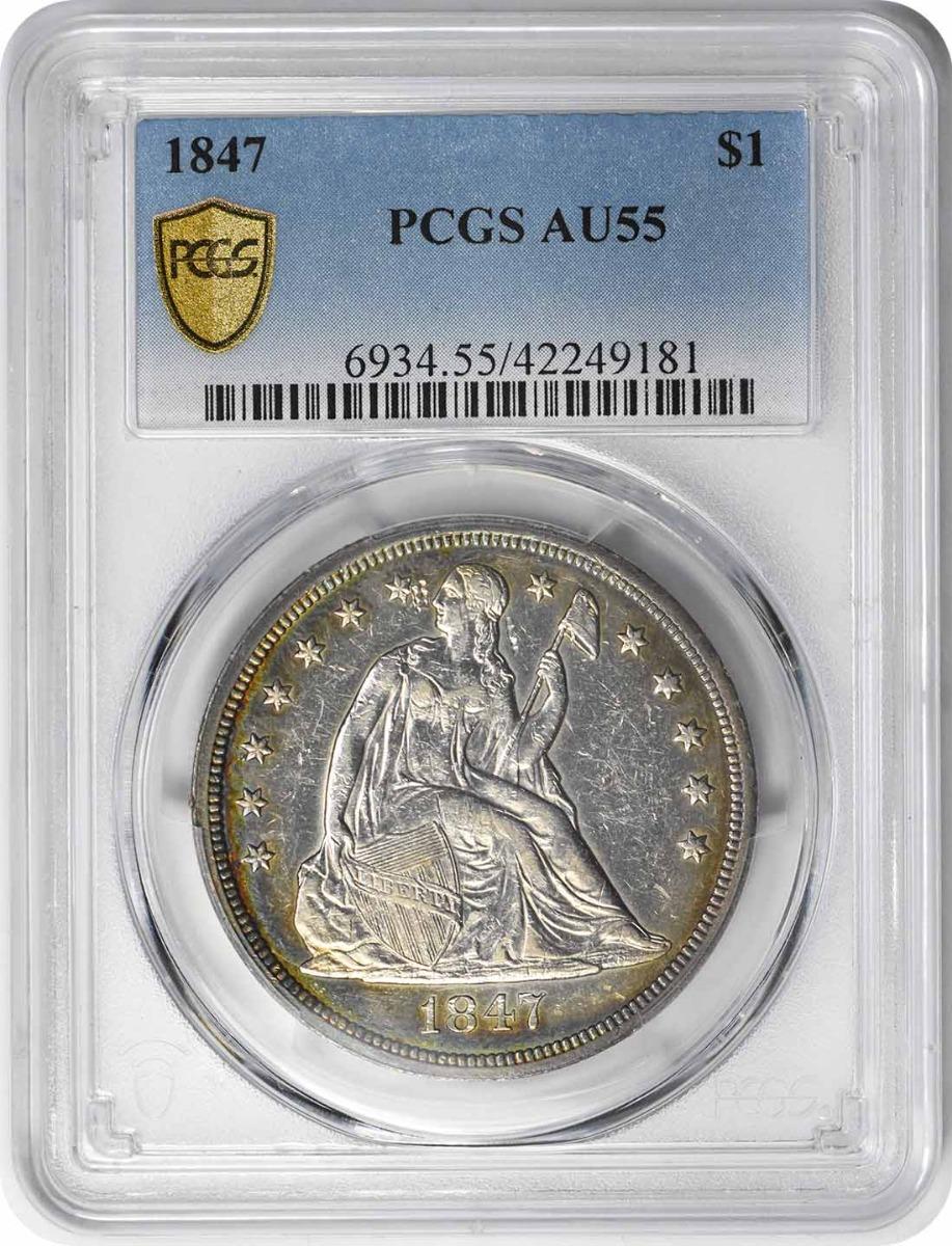 1847 Liberty Seated Silver Dollar AU55 PCGS