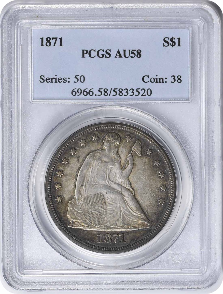 1871 Liberty Seated Silver Dollar AU58 PCGS