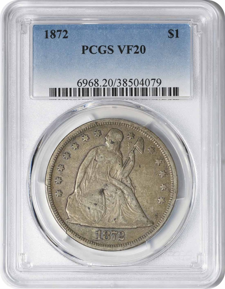 1872 Liberty Seated Silver Dollar VF20 PCGS