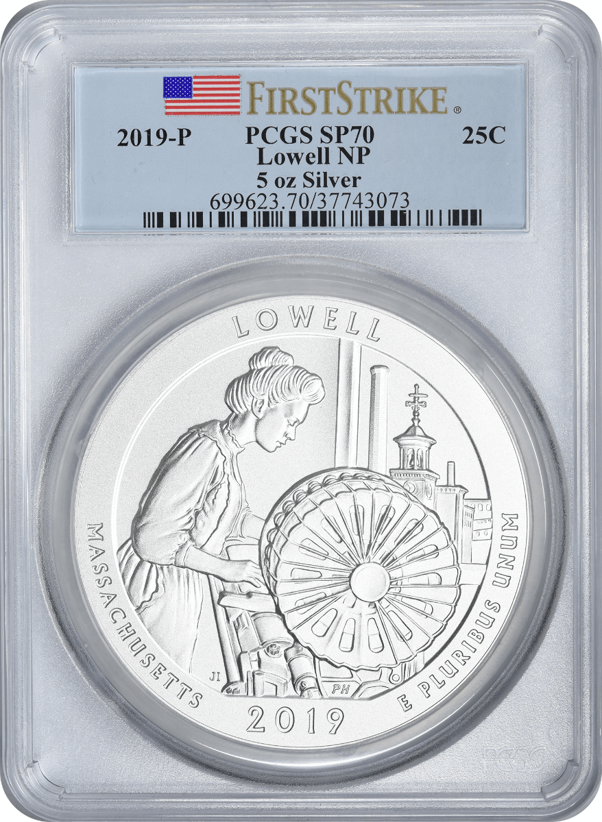 2019-P 5 oz Silver Lowell National Park America the Beautiful Quarter, SP70, First Strike, PCGS