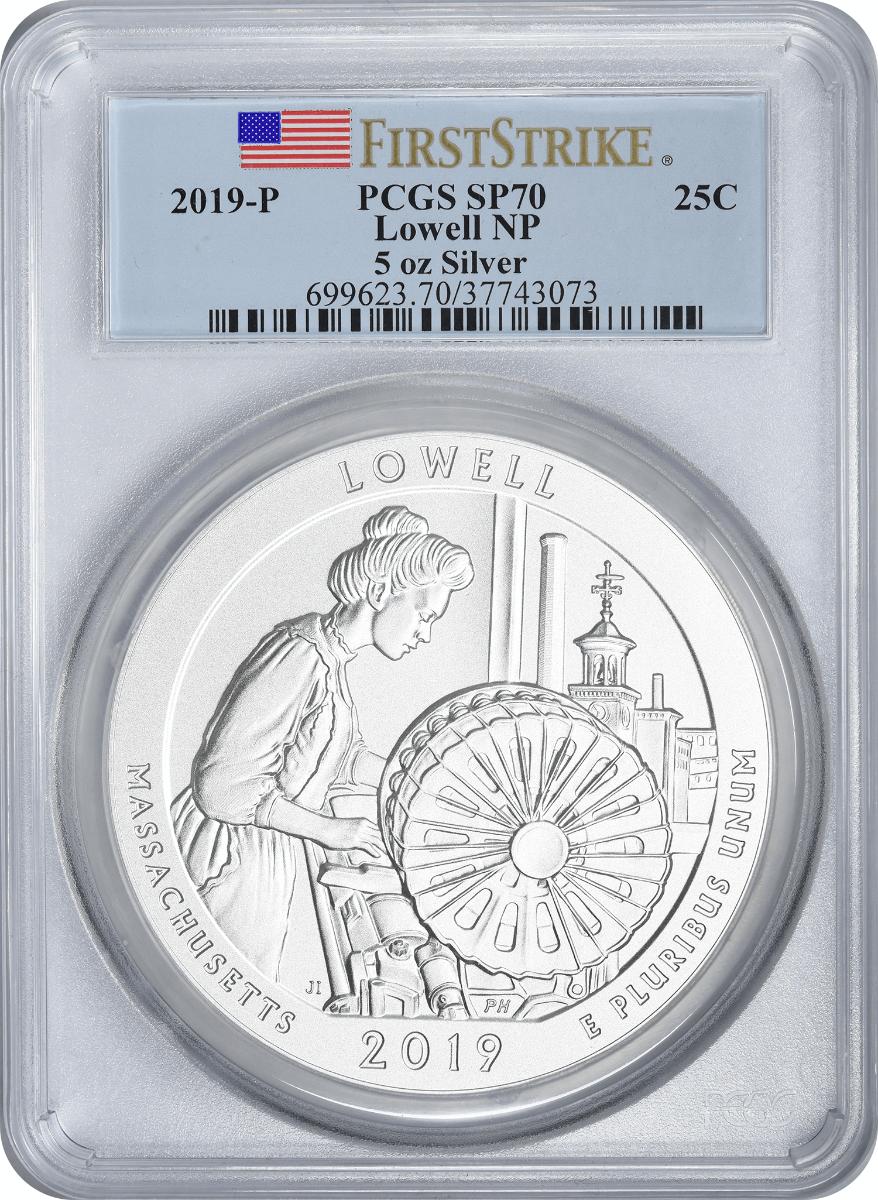 2019-P 5 oz Silver Lowell National Park America the Beautiful Quarter SP70 First Strike PCGS