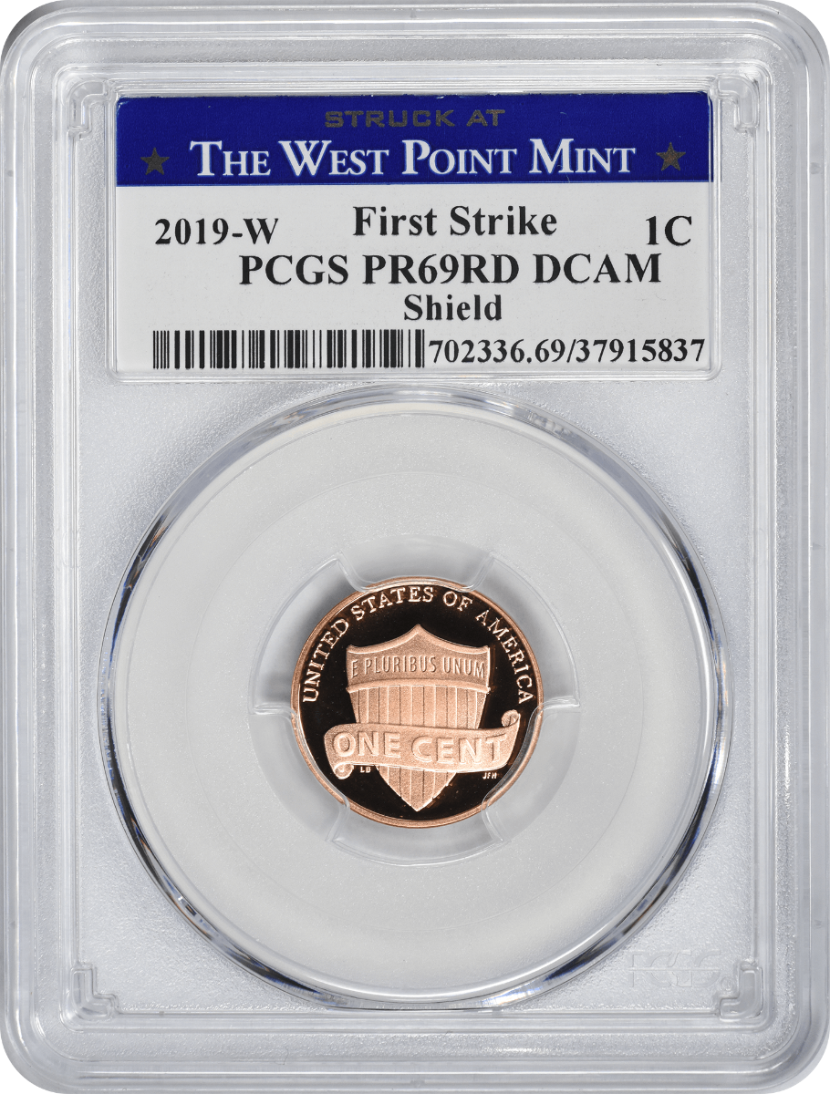 2019-W Lincoln Cent, PR69RD DCAM, First Strike, PCGS (Struck at West Point Label)