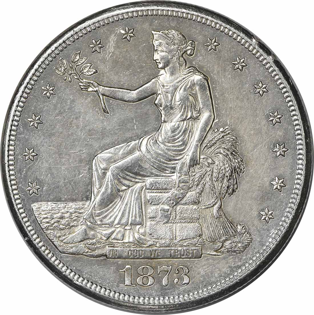 1873-CC Trade Silver Dollar AU58 Uncertified