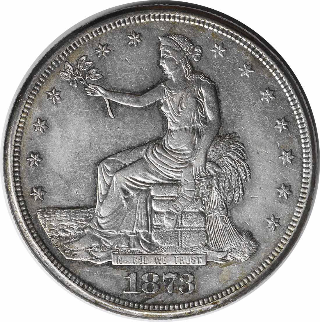 1873-CC Trade Dollar AU Uncertified