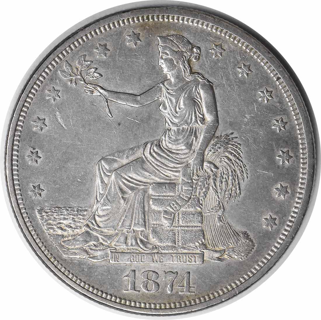 1874 Trade Silver Dollar AU Uncertified #958