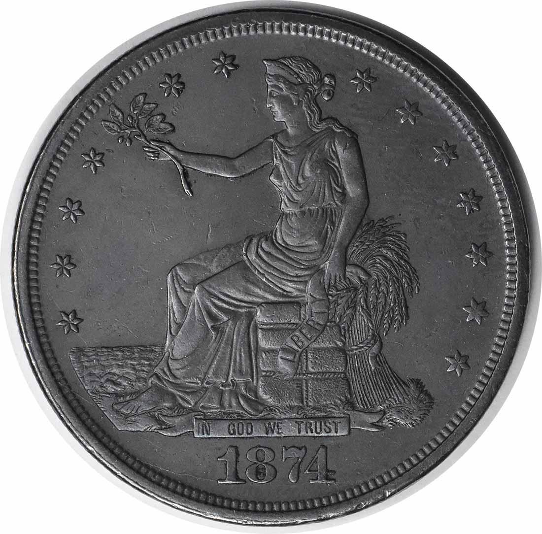 1874-CC Trade Silver Dollar AU58 Uncertified