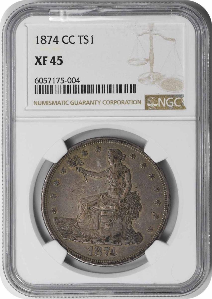1874-CC Trade Silver Dollar EF45 NGC