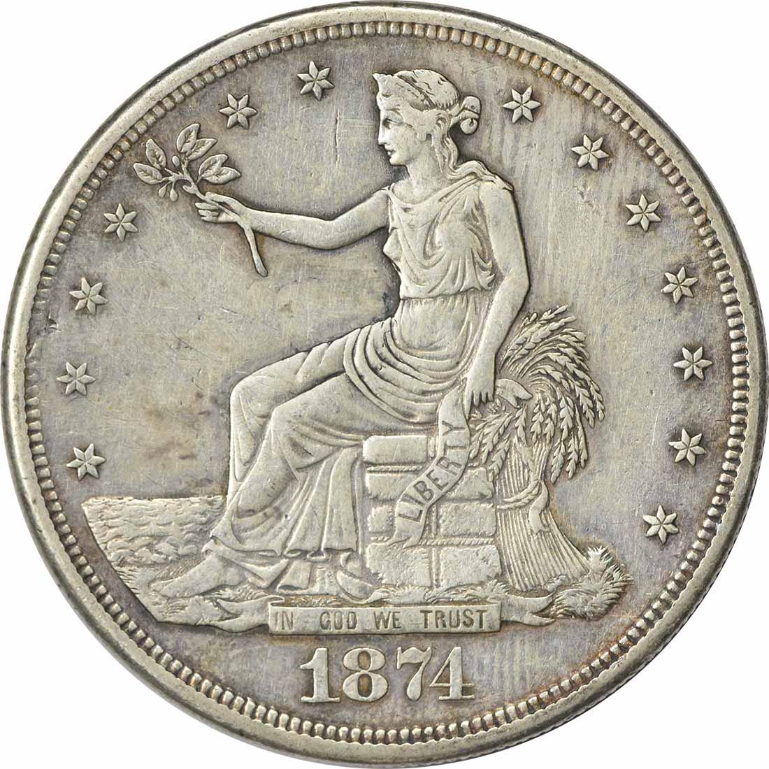 1874-S Trade Silver Dollar EF Uncertified