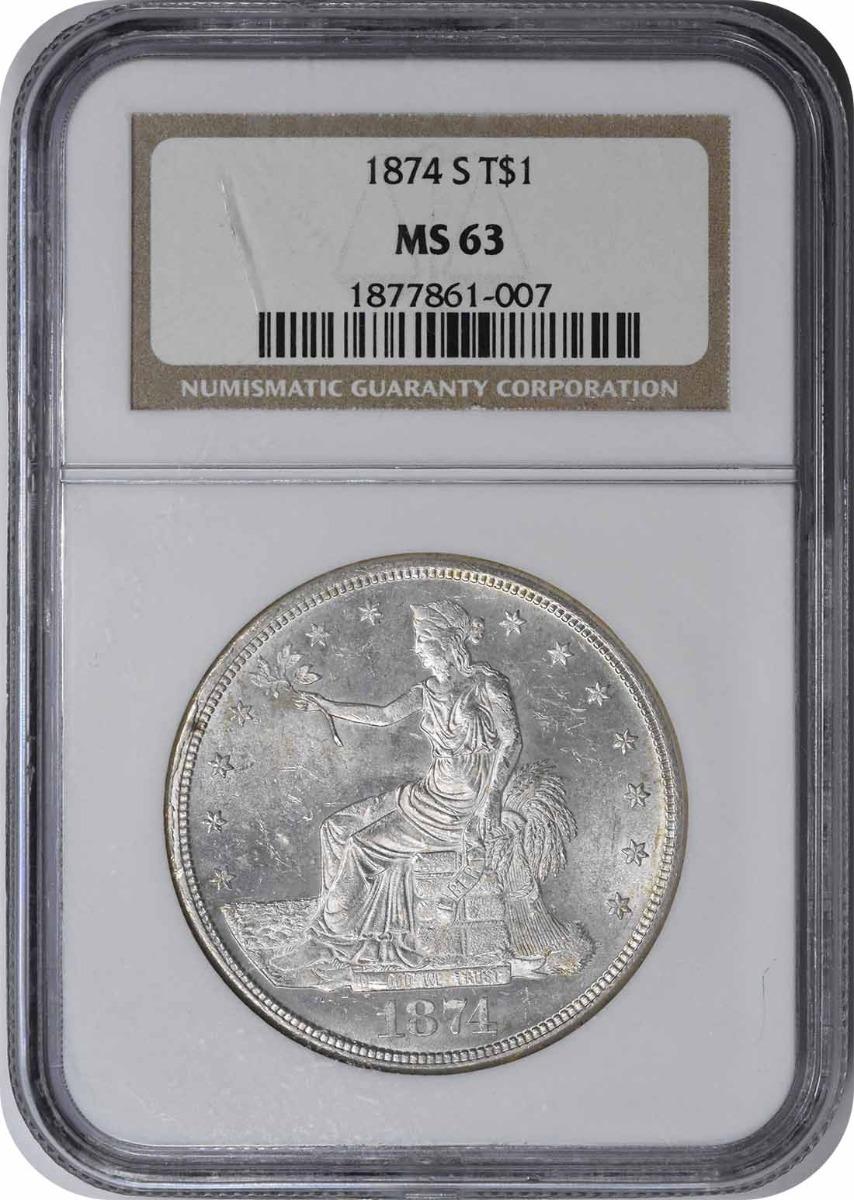 1874-S Trade Silver Dollar MS63 NGC