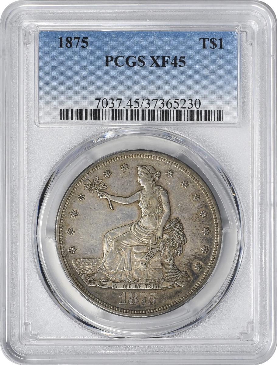 1875 Trade Silver Dollar, EF45, PCGS