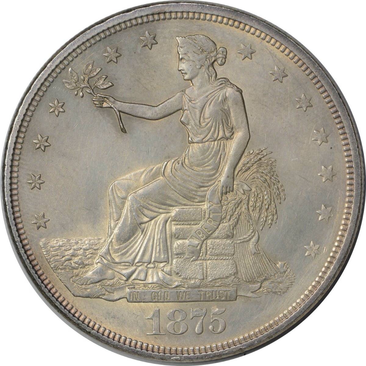 1875 Trade Silver Dollar MS63 Uncertified
