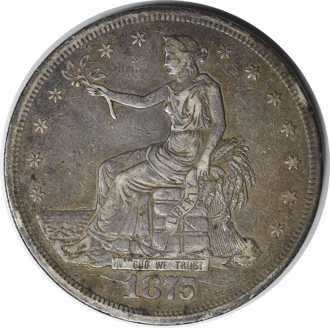 1875-CC Trade Silver Dollar EF Uncertified