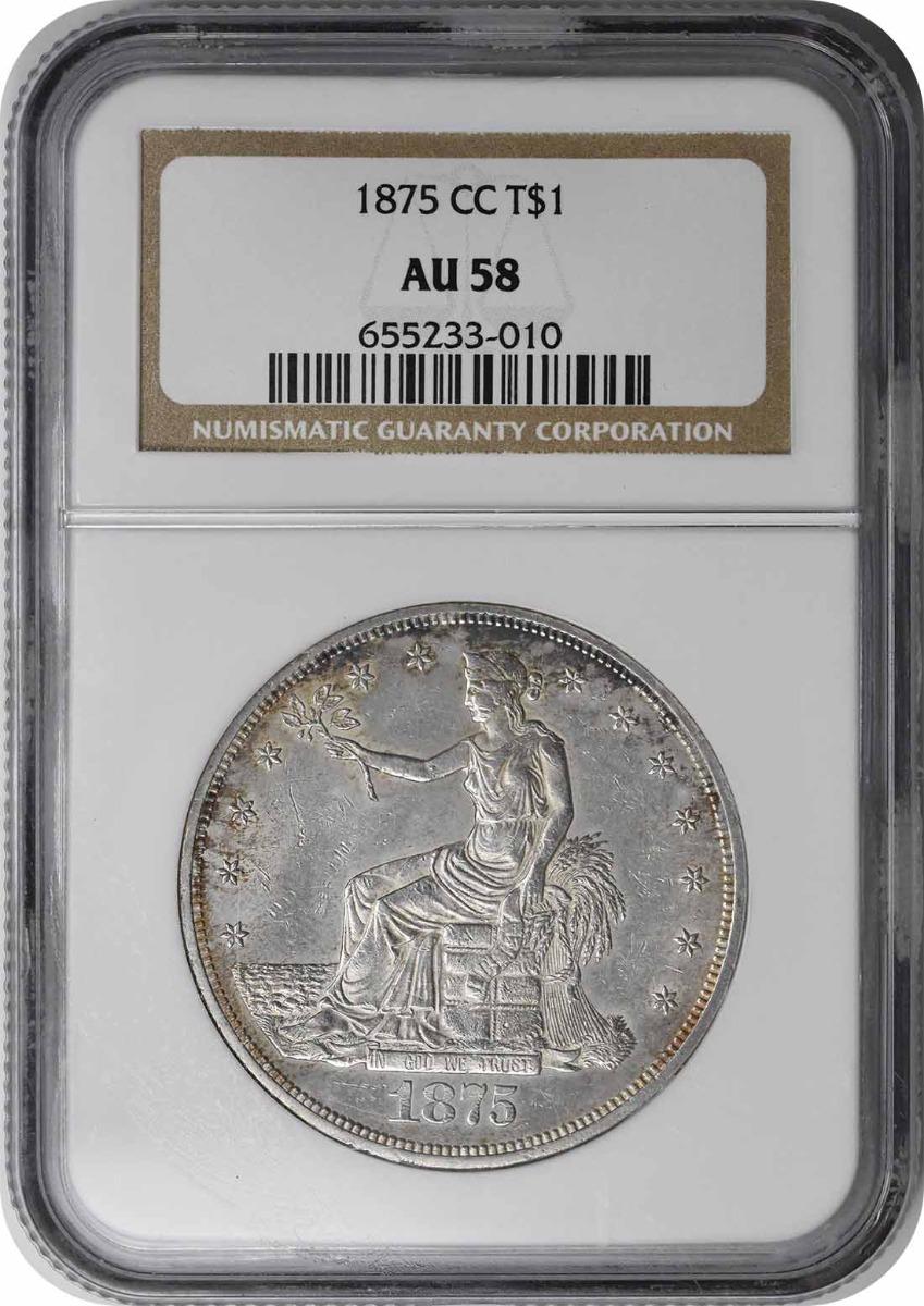 1875-CC Trade Silver Dollar AU58 NGC