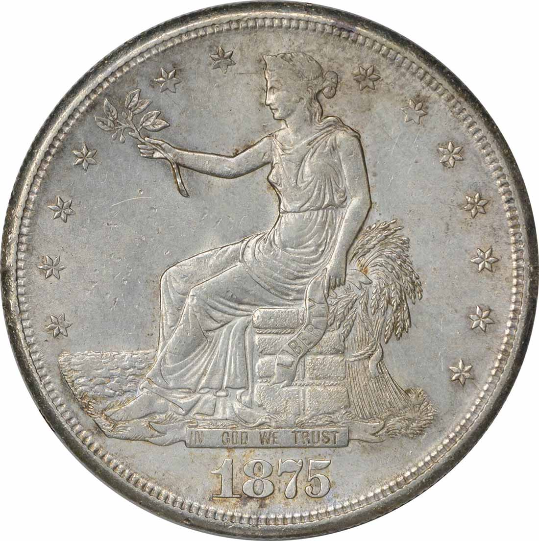 1875-S Trade Silver Dollar MS60 Uncertified