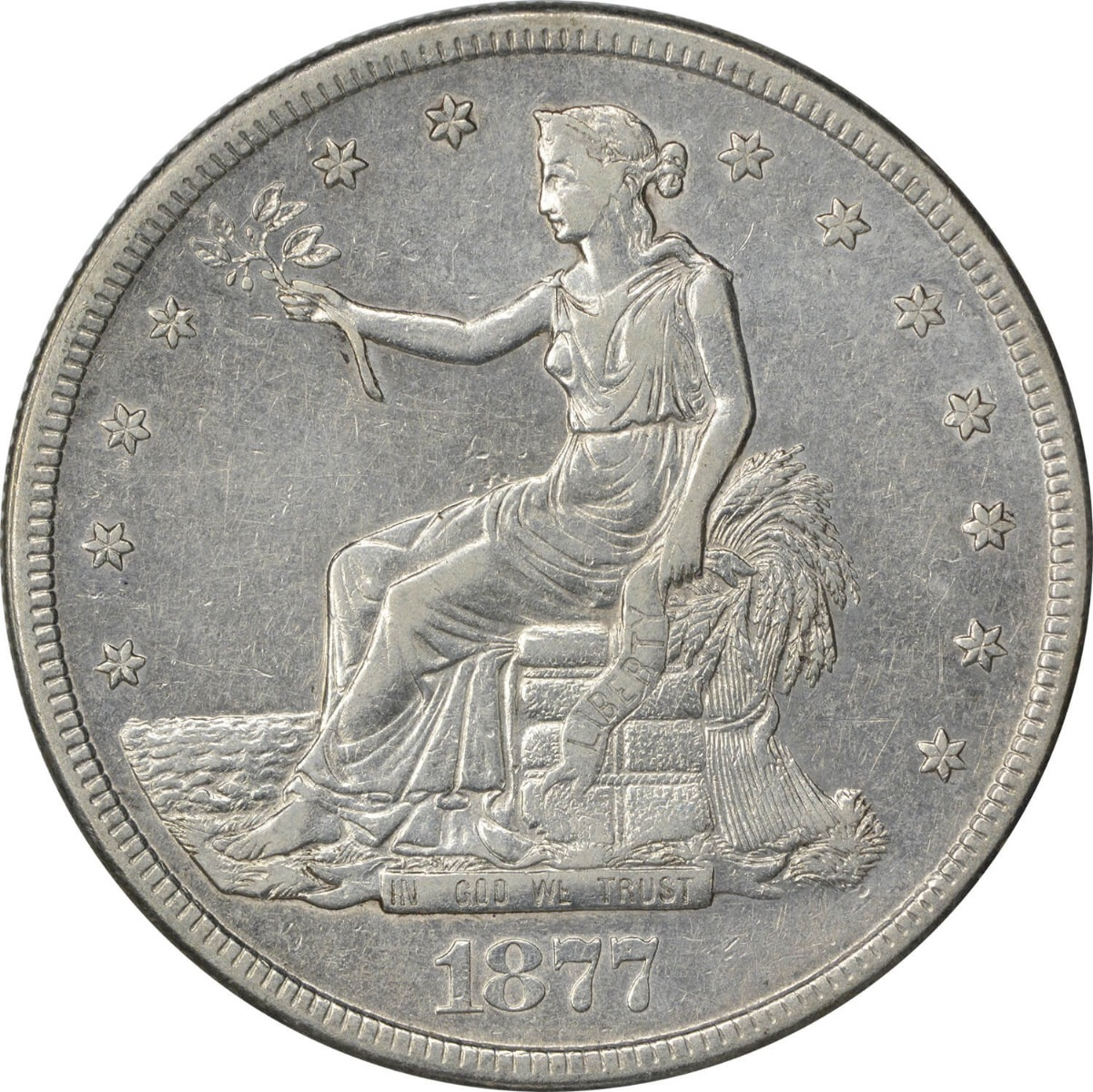 1877-S Trade Silver Dollar EF Uncertified