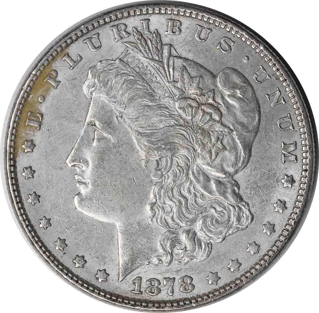 1878 Morgan Silver Dollar 7TF Reverse of 1878 AU Uncertified
