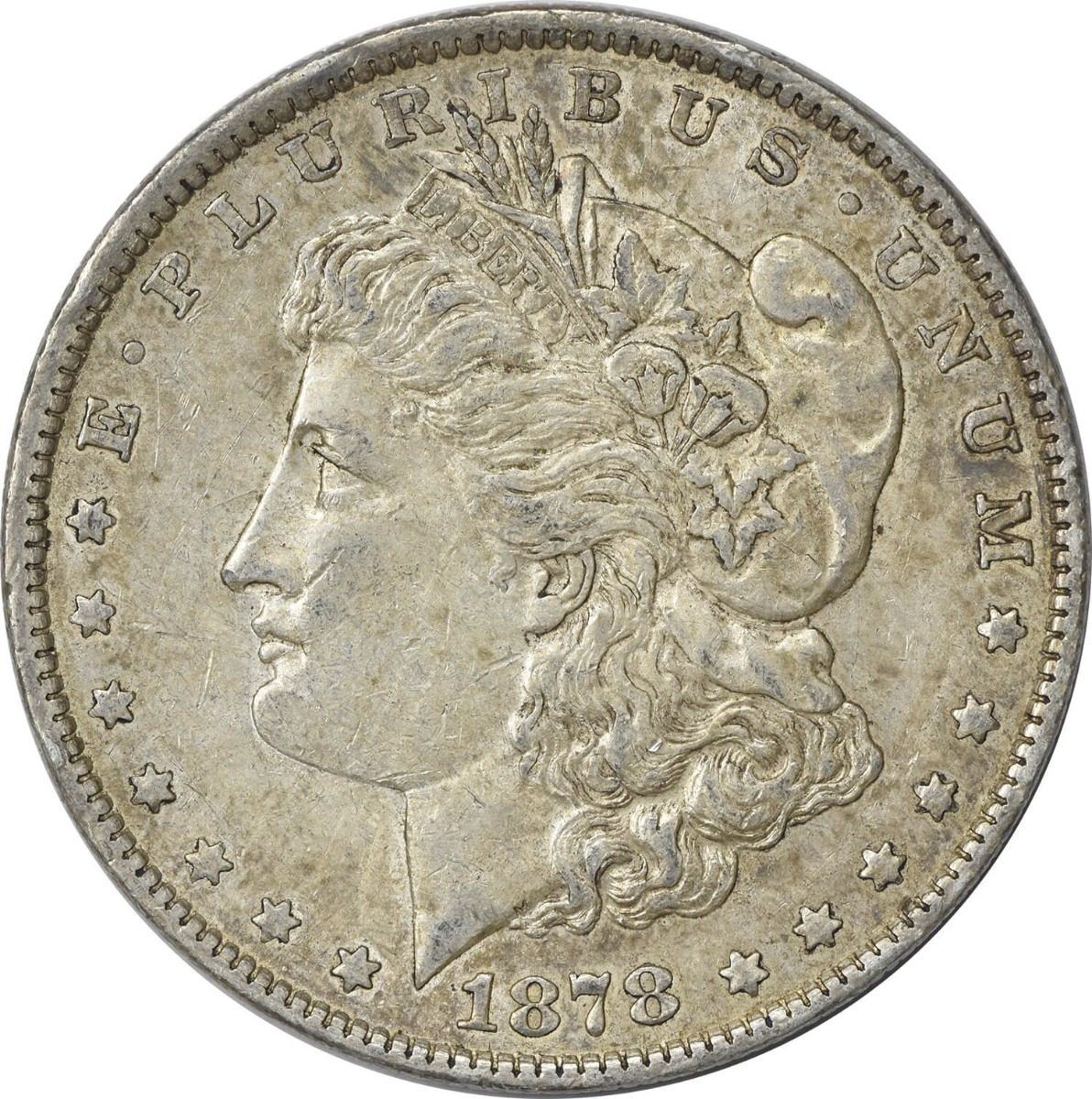 1878-P Morgan Silver Dollar, 7TF Reverse of 1879, AU, Uncertified