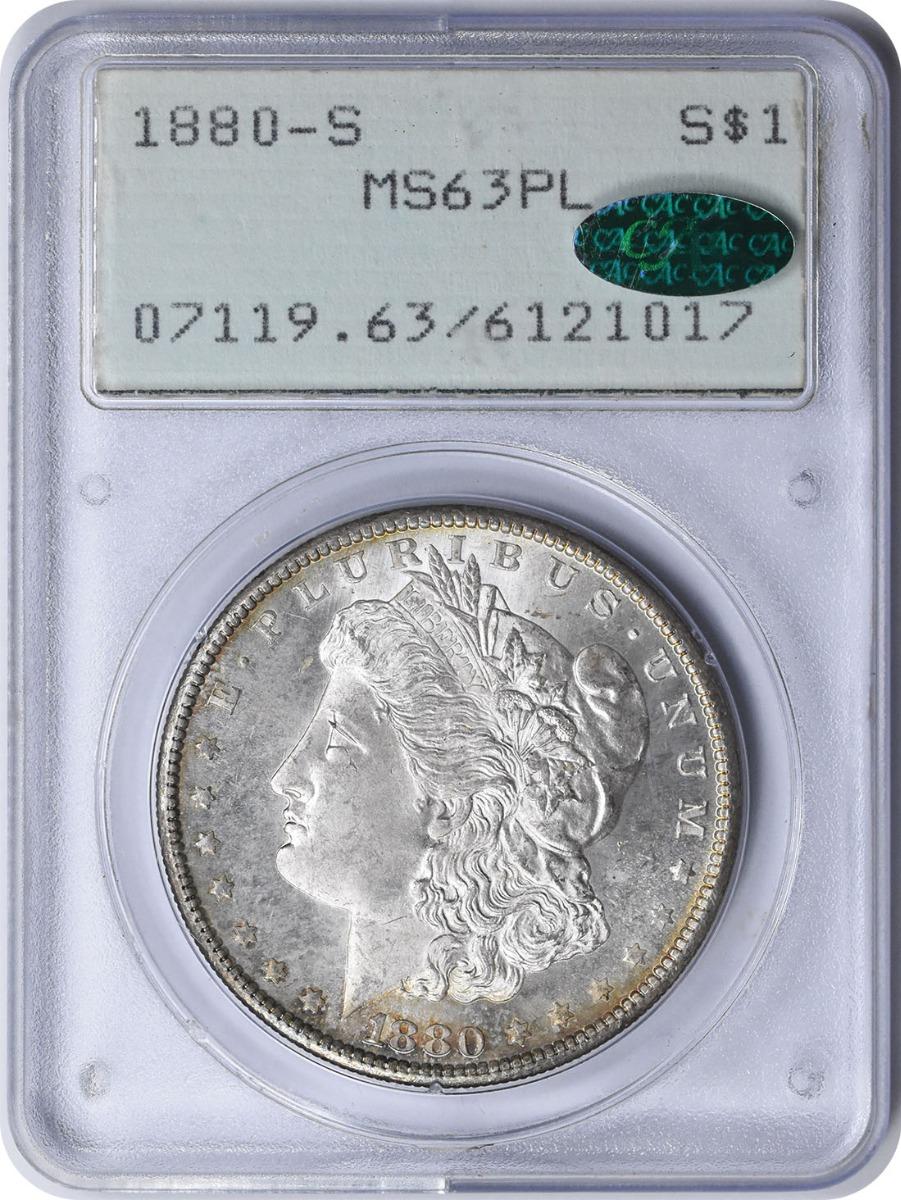 1880-S Morgan Silver Dollar MS63PL PCGS (CAC)