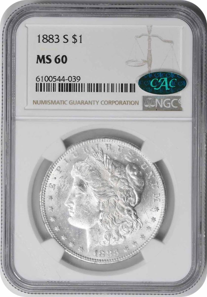 1883-S Morgan Silver Dollar MS60 NGC (CAC)