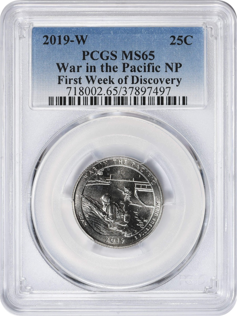 2019-W War in the Pacific National Park Quarter, MS65, First Week of Discovery, PCGS