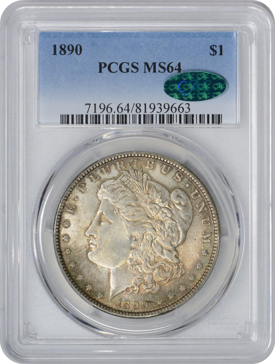 1890-P Morgan Silver Dollar MS64 PCGS (CAC) Hints of Red & Blue Toned on Both Sides