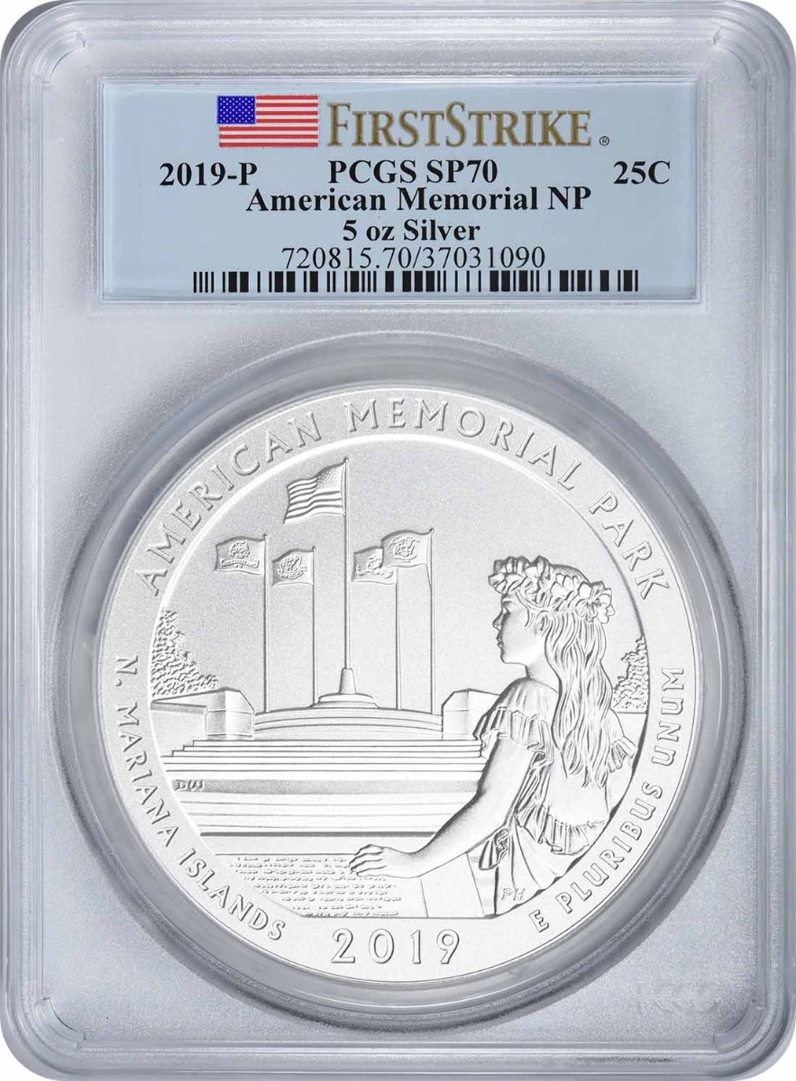2019-P 5 oz Silver American Memorial National Park America the Beautiful Quarter, SP70, First Strike, PCGS