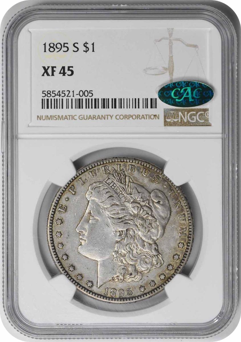 1895-S Morgan Silver Dollar EF45 NGC (CAC)
