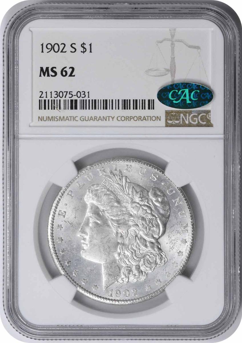 1902-S Morgan Silver Dollar MS62 NGC (CAC)
