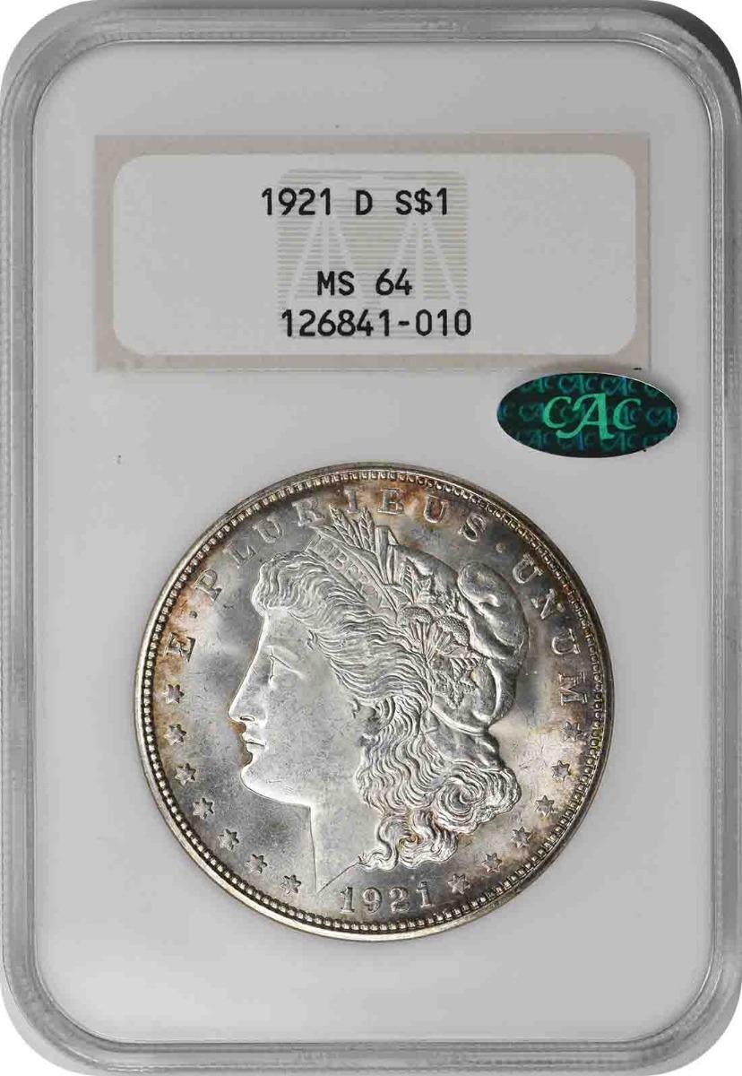 1921-D Morgan Silver Dollar MS64 NGC (CAC)