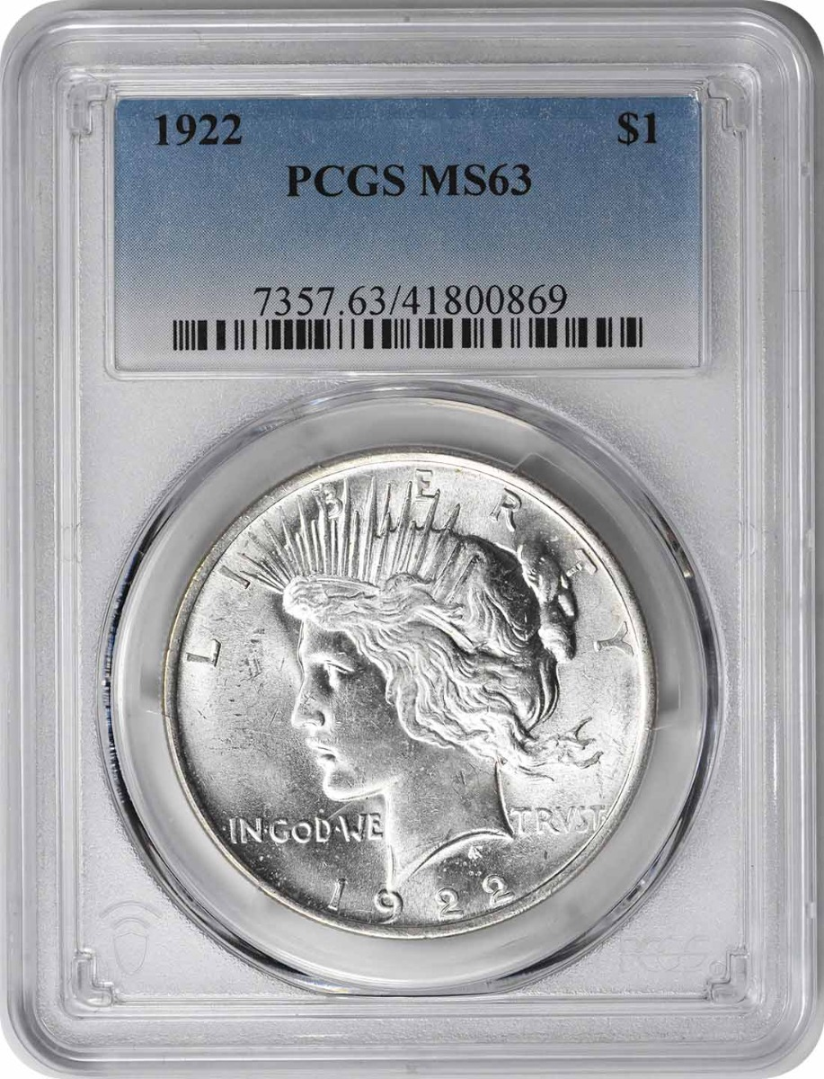 1922 Peace Silver Dollar MS63 PCGS