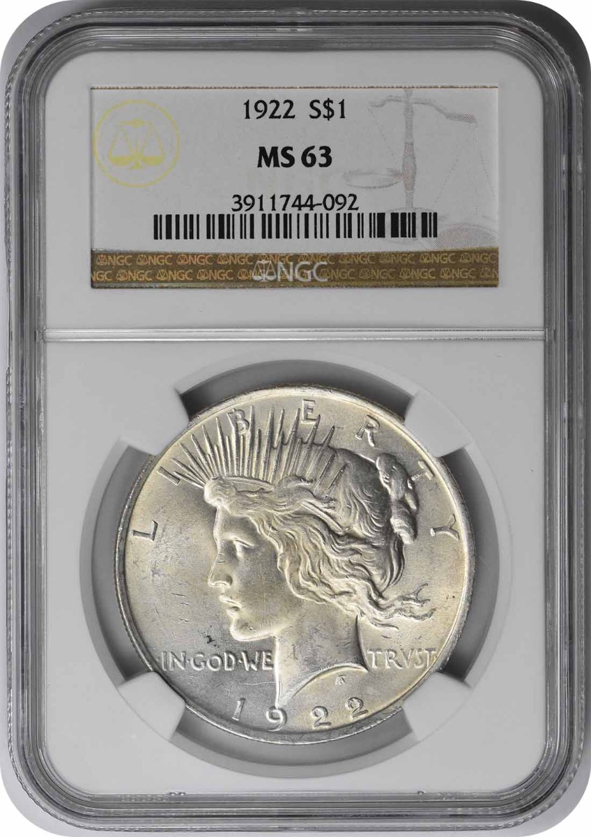 1922 Peace Silver Dollar MS63 NGC