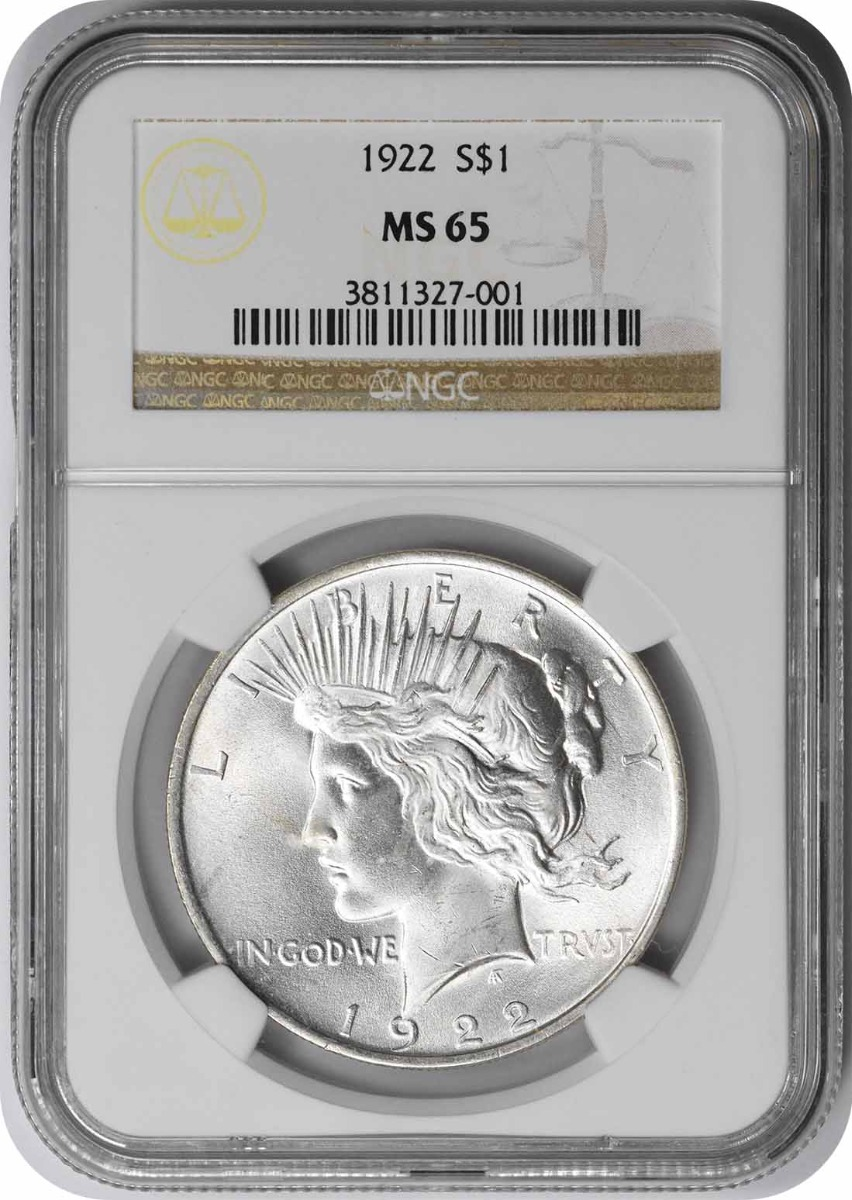 1922 Peace Silver Dollar MS65 NGC