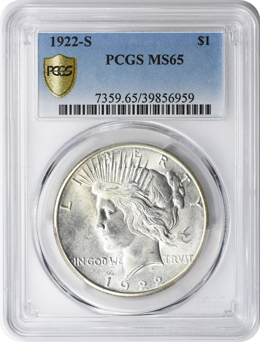 1922-S Peace Silver Dollar MS65 PCGS
