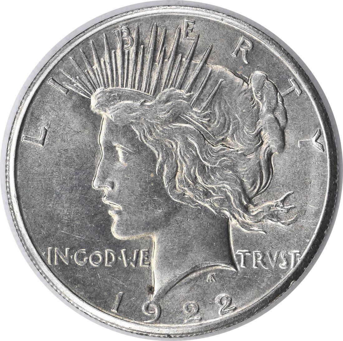 1922-S Peace Silver Dollar AU58 Uncertified