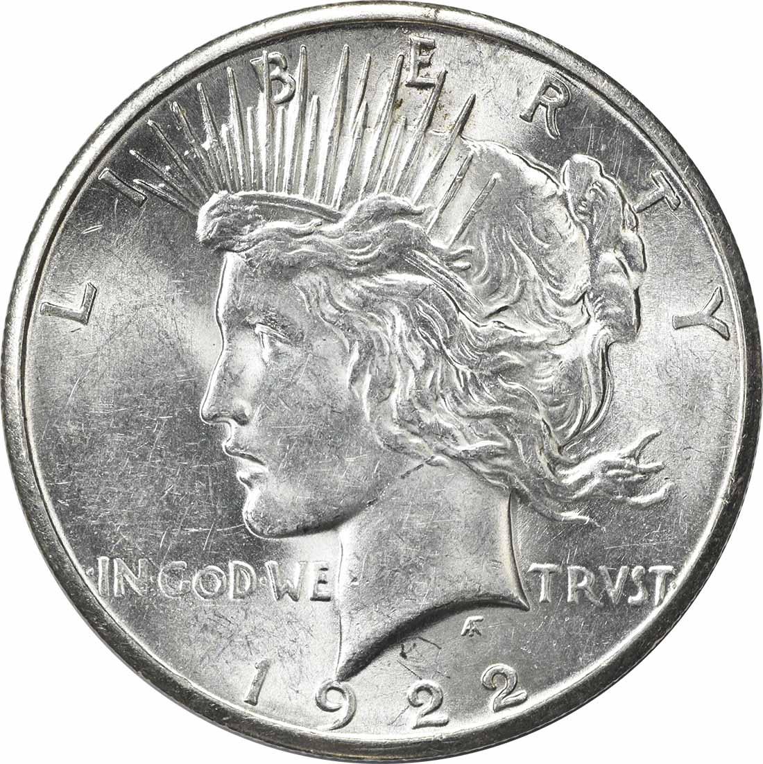 1922-S Peace Silver Dollar MS60 Uncertified