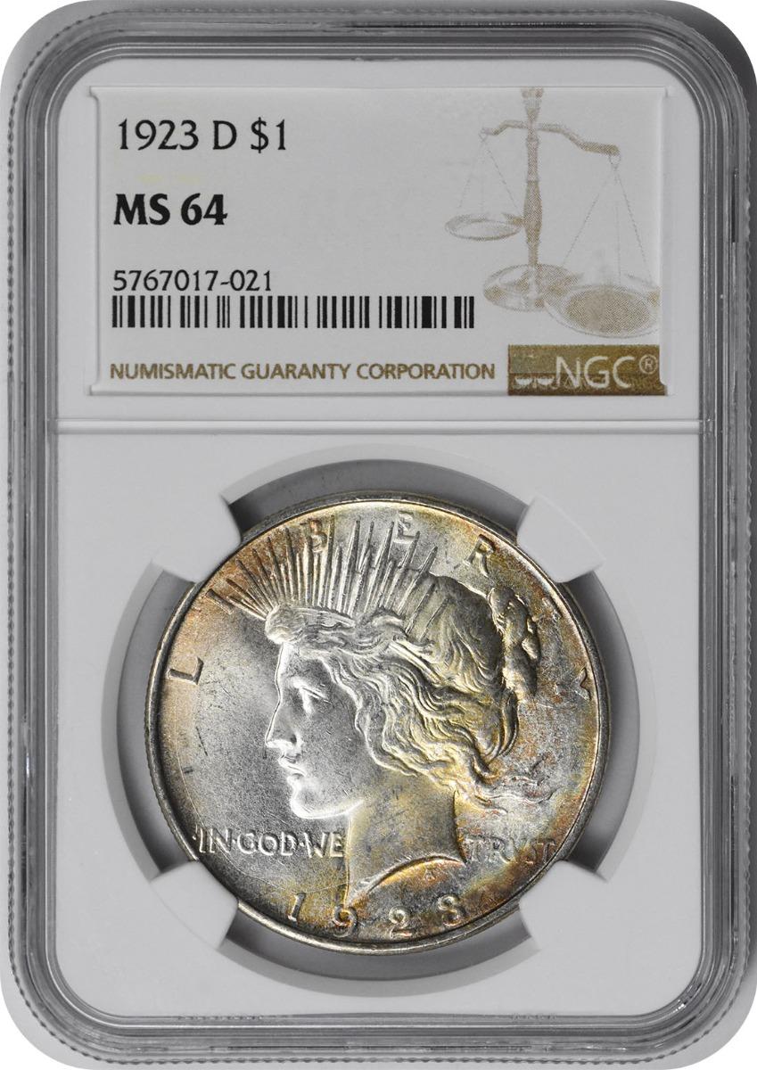 1923-D Peace Silver Dollar MS64 NGC