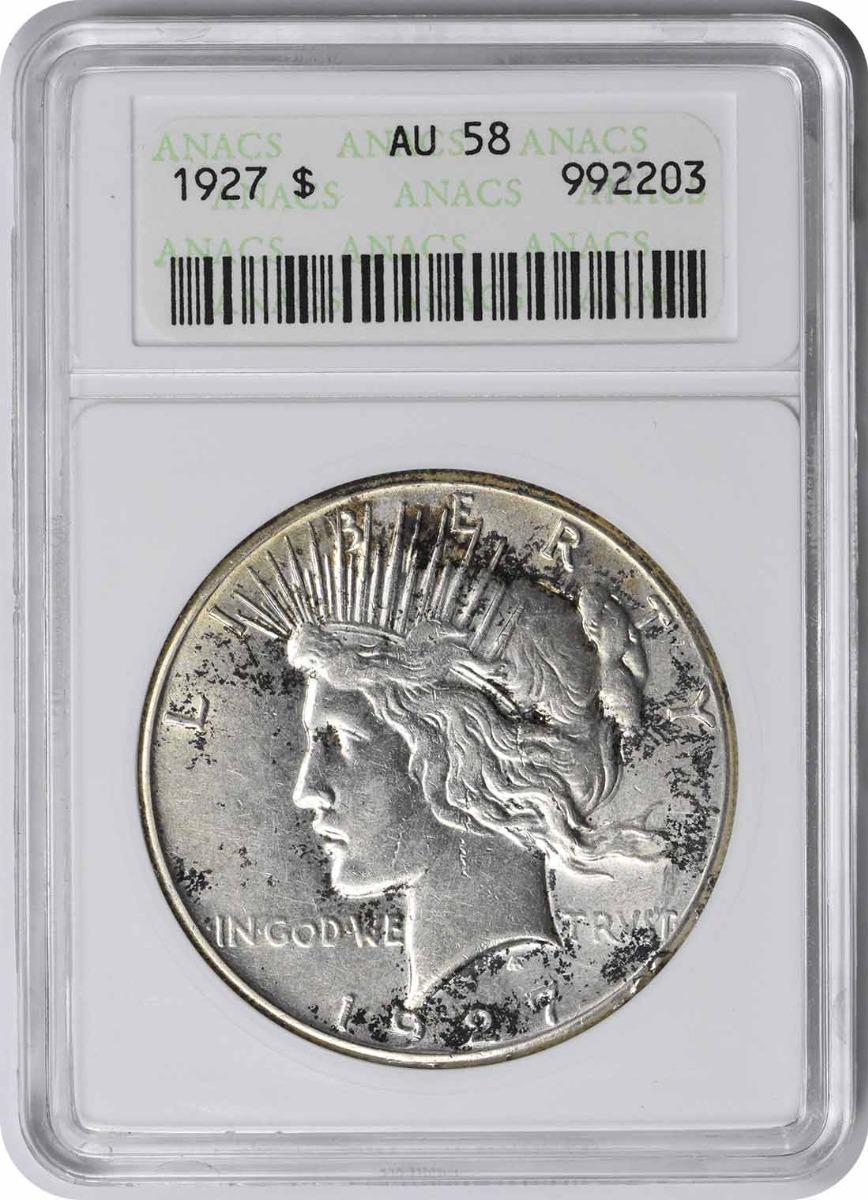 1927 Peace Silver Dollar AU58 ANACS