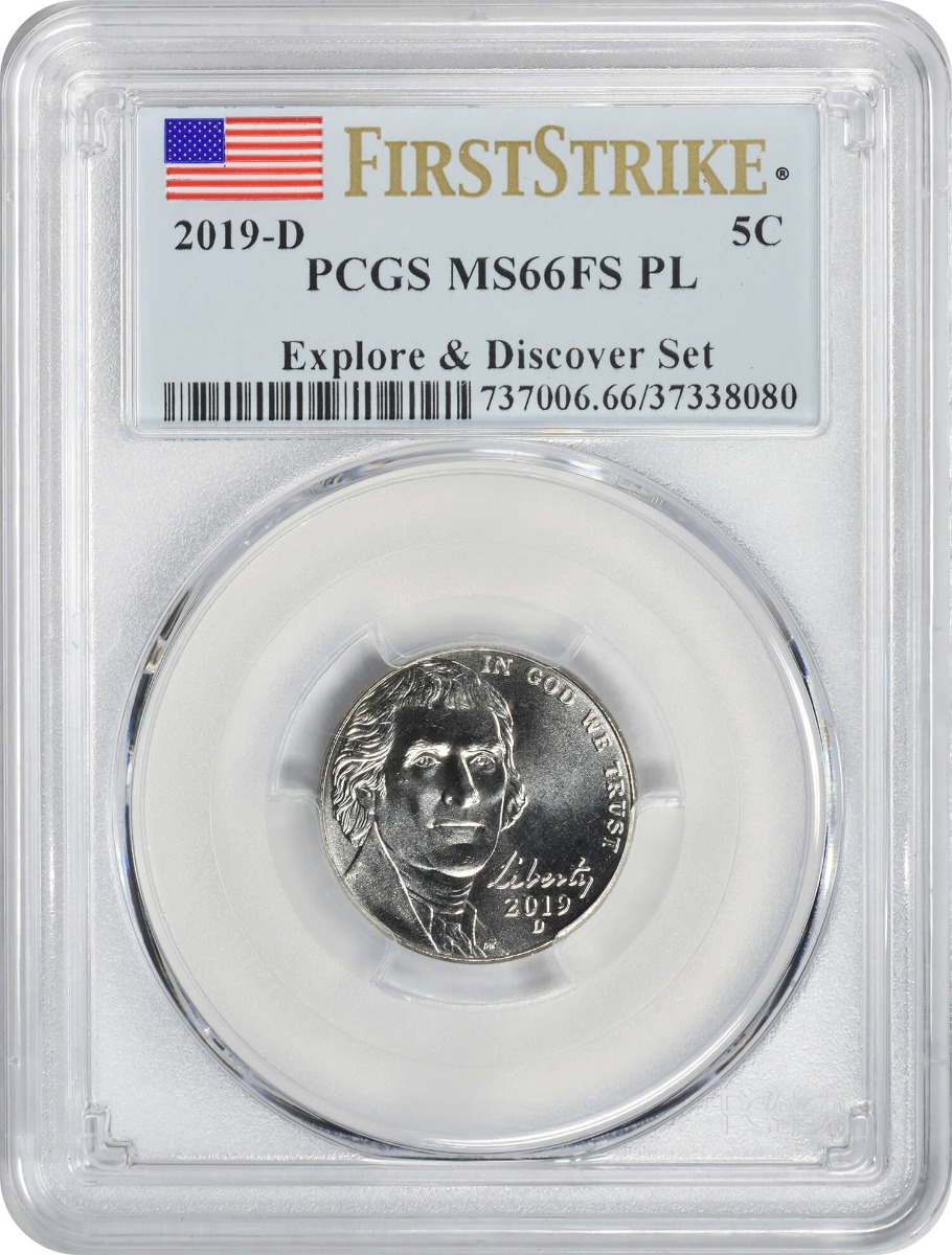 2019-D Jefferson Nickel, Explore & Discover Set, MS66FS PL, First Strike, PCGS