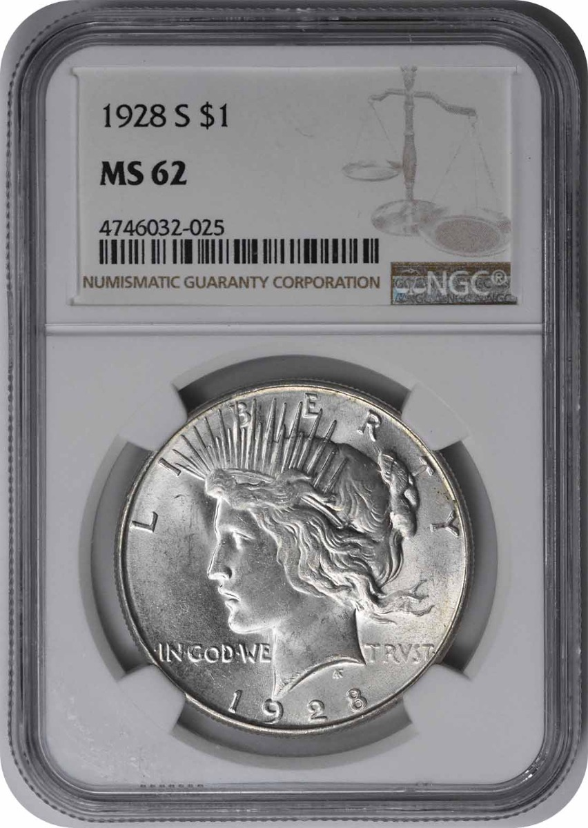1928-S Peace Silver Dollar MS62 NGC